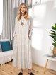 Printed Round Neck Hem Split Loose Long Dress