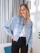 Blue Denim Long Sleeve Outerwear