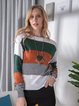 Dark Green Casual Plain Acrylic Color-Block Sweater