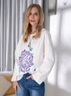 Butterfly Floral Print Crew Neck Casual Tops