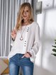 Loose Casual Button Round Neck Tops T-shirt