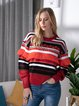 Red Long Sleeve Crew Neck Casual Sweater