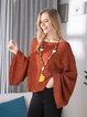 Brown Cape Sleeve Bateau/boat Neck Acrylic Sweater