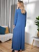 Casual Solid Color Round Neck Long Sleeve Maxi Dresses