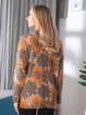 Vintage Print Flower Half Turtleneck Long Sleeve Sweater