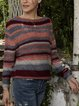 Orange Long Sleeve Paneled Striped Cotton-Blend Sweater