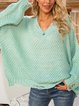 Green Paneled Casual Cotton-Blend Solid Sweater