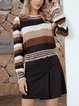 Coffee Cotton-Blend Casual Crew Neck Sweater