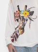 Beautiful giraffe print round neck knitted sweatshirt Long Sleeve Tops
