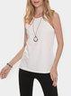 White Cotton-Blend Crew Neck Sleeveless Plain Shirts & Tops