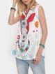 Print Short Sleeve V-neck Vest Tops