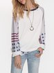 White Long Sleeve Casual Crew Neck Shirts & Tops