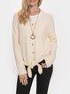 V-neck Button Long Sleeve Knotted Hem Sweater
