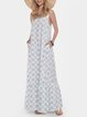 Bohemian Suspender Ethnic Print Casual Maxi Dress