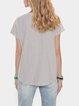 Zebra-Stripe Short Sleeve V Neck Cotton-Blend Shirts & Tops