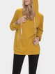 Yellow Casual Hoodie Plain Shift Shirts & Tops