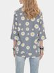 Gray Cotton-Blend V Neck Half Sleeve Floral Shirts & Tops