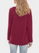 Wine Red Casual Long Sleeve Shirts & Tops