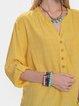 Yellow Long Sleeve Casual Plain Shirt Collar Shirts & Tops