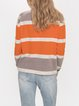 Orange Casual Cotton-Blend Shift Sweater