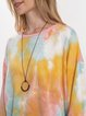 Multicolor Crew Neck Cotton-Blend Ombre/tie-Dye Long Sleeve Sweatshirt