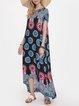 Ethnic Print Crew Neck Short Sleeve Casual Dress