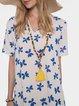 Butterfly Print V-neck Short Sleeve Dress