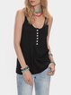 Black Cotton-Blend Plain Crew Neck Sleeveless Shirts & Tops