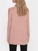 Pink Long Sleeve Cotton-Blend Off Shoulder Sweater