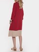 Red Half Sleeve Casual Color-Block Geometric Dresses