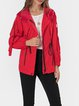 Red Casual Plain Jackets