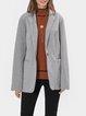 Light Gray Casual Plain Shawl Collar Outerwear