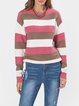 Contrast Color Stripe Long Sleeve Casual Sweater