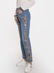 Women Floral Print Vintage Denim Pants