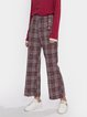 Red Cotton-Blend Casual Pants