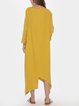 Casual Loose Cotton Linen Round Neck Layer Dress