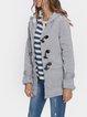 Women Horn Button Coton Fleece Hooded Duffle Coat