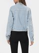 Blue Denim Shirt Collar Casual Outerwear