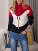 Red Acrylic Casual Color-Block Plain Sweater