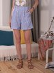 Blue Striped Casual Shorts