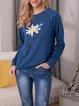 Fashion Chrysanthemum Print Sweater Casual Long Sleeve Tops