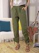 Olive Green Cotton-Blend Plain Casual Pants