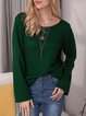 Green Casual Long Sleeve Shirts & Tops
