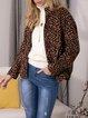 Yellow Turtleneck Long Sleeve Leopard Outerwear
