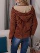 Orange Casual Shift Checkered/plaid Cotton-Blend Outerwear