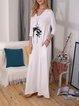 White 3/4 Sleeve Cotton-Blend Dresses