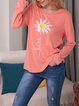 Floral Print Round Neck Long Sleeve T-shirt