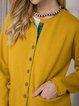 Yellow Acrylic Long Sleeve Plain Sweater