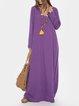 V-neck Loose Solid Color Long Sleeve Maxi Dresses