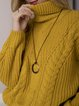 Yellow Long Sleeve Plain Casual Turtleneck Sweater